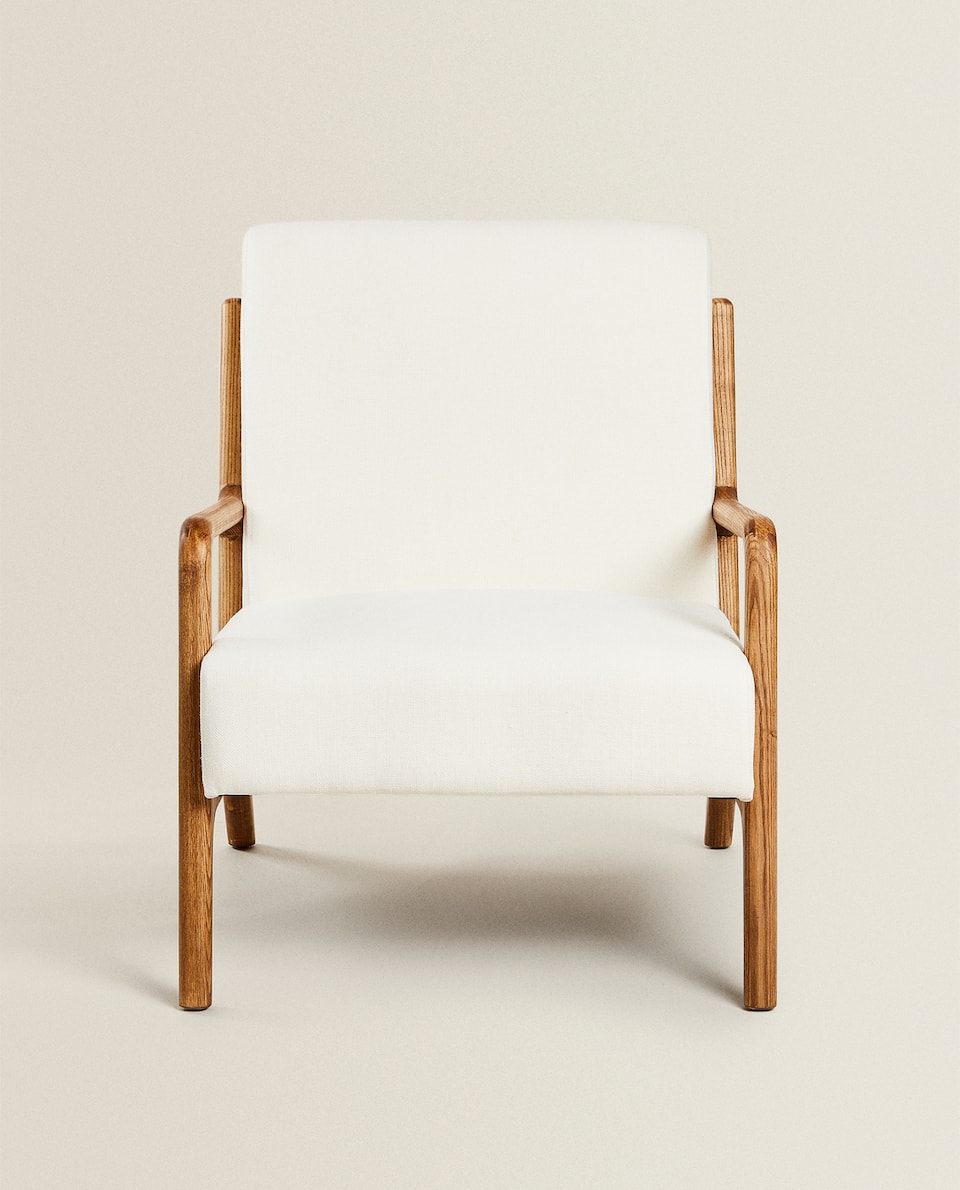 ASH WOOD AND LINEN ARMCHAIR
