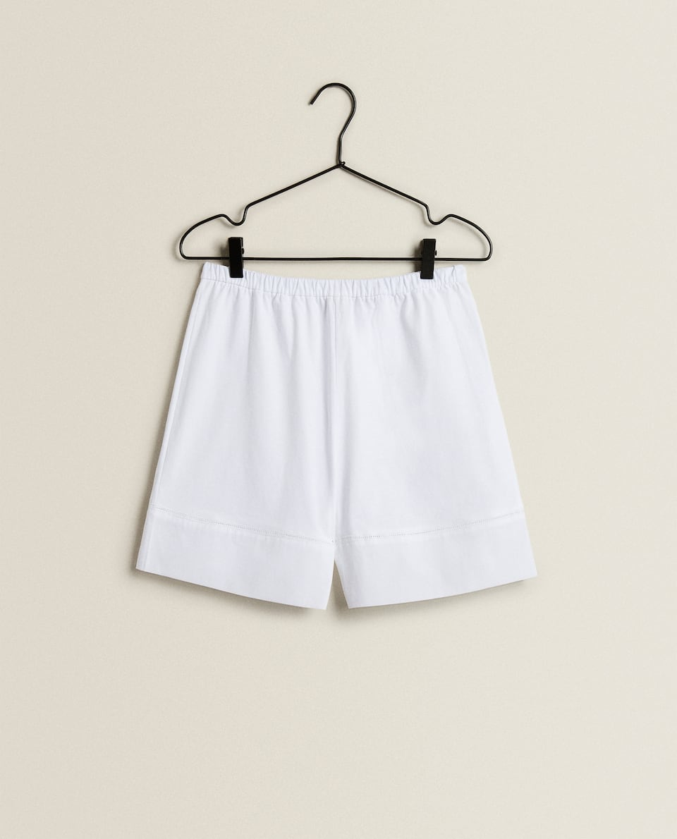 COTTON SHORTS WITH HEMSTITCHING