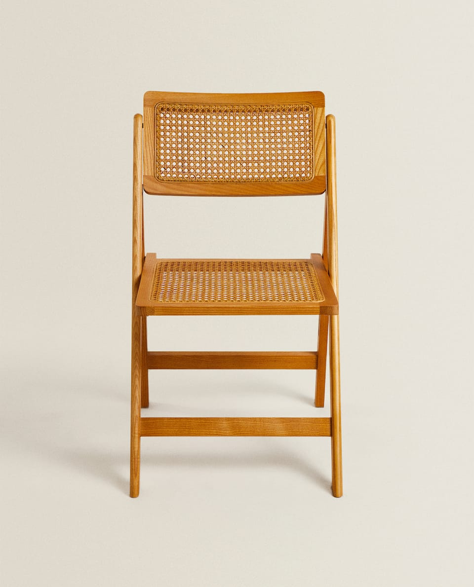RATTAN AND WOOD FOLDING CHAIR