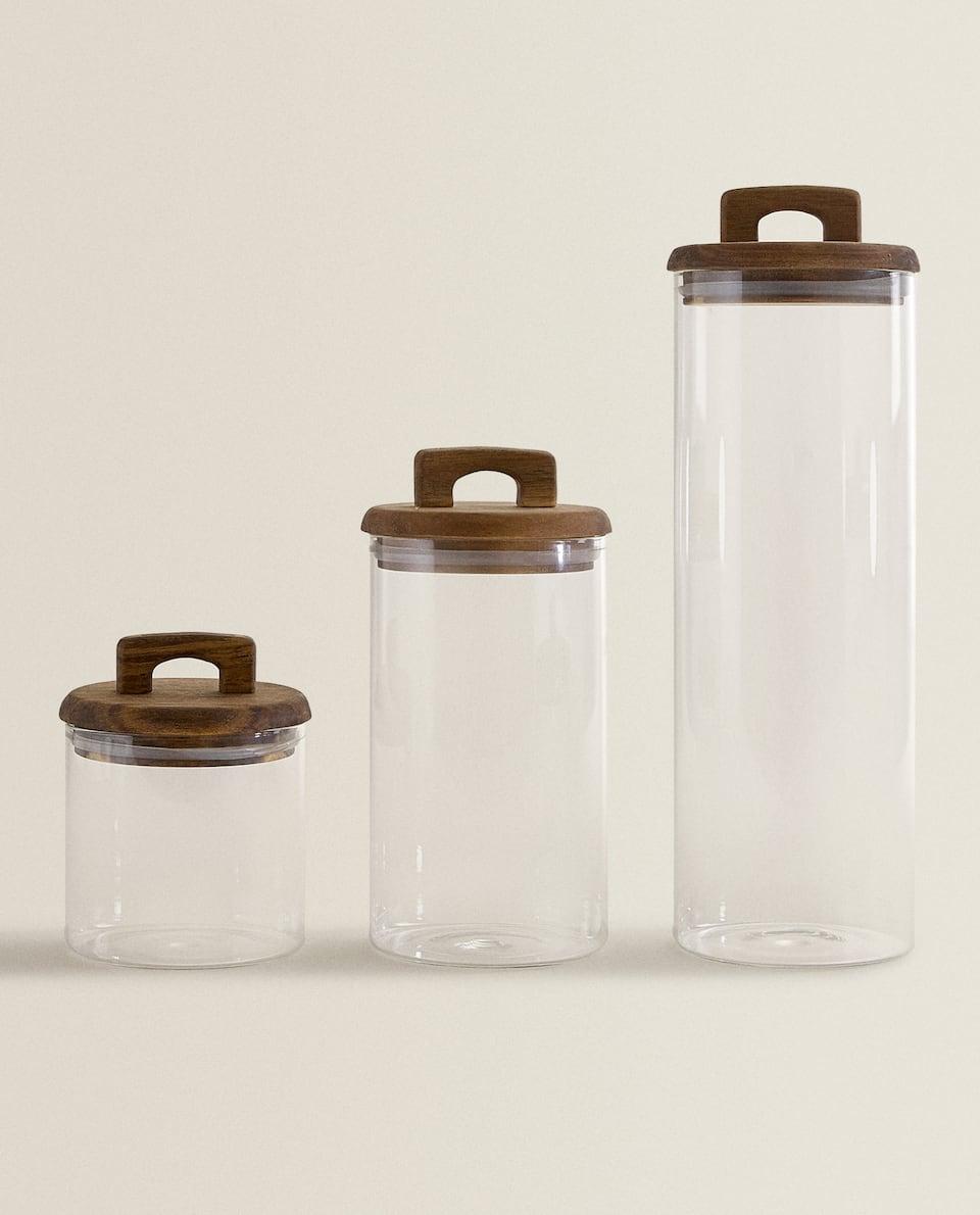 BOROSILICATE GLASS AND WOOD STORAGE JAR