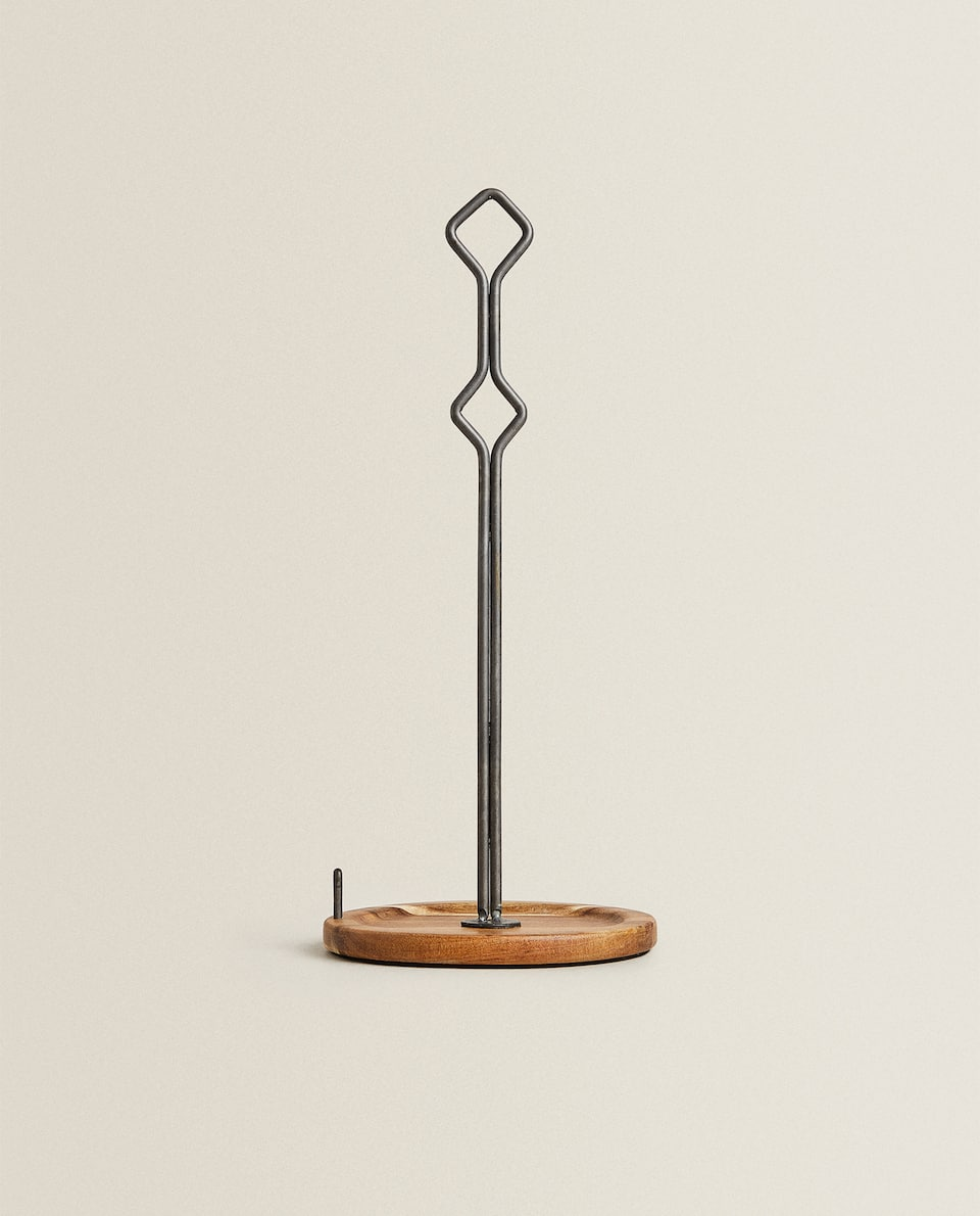 IRON AND ACACIA WOOD ROLL HOLDER