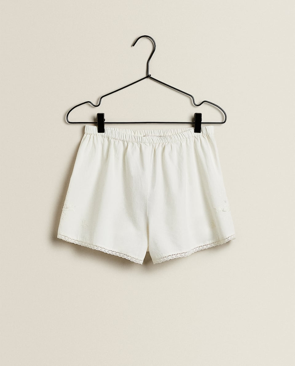 COTTON SHORTS WITH EMBROIDERY