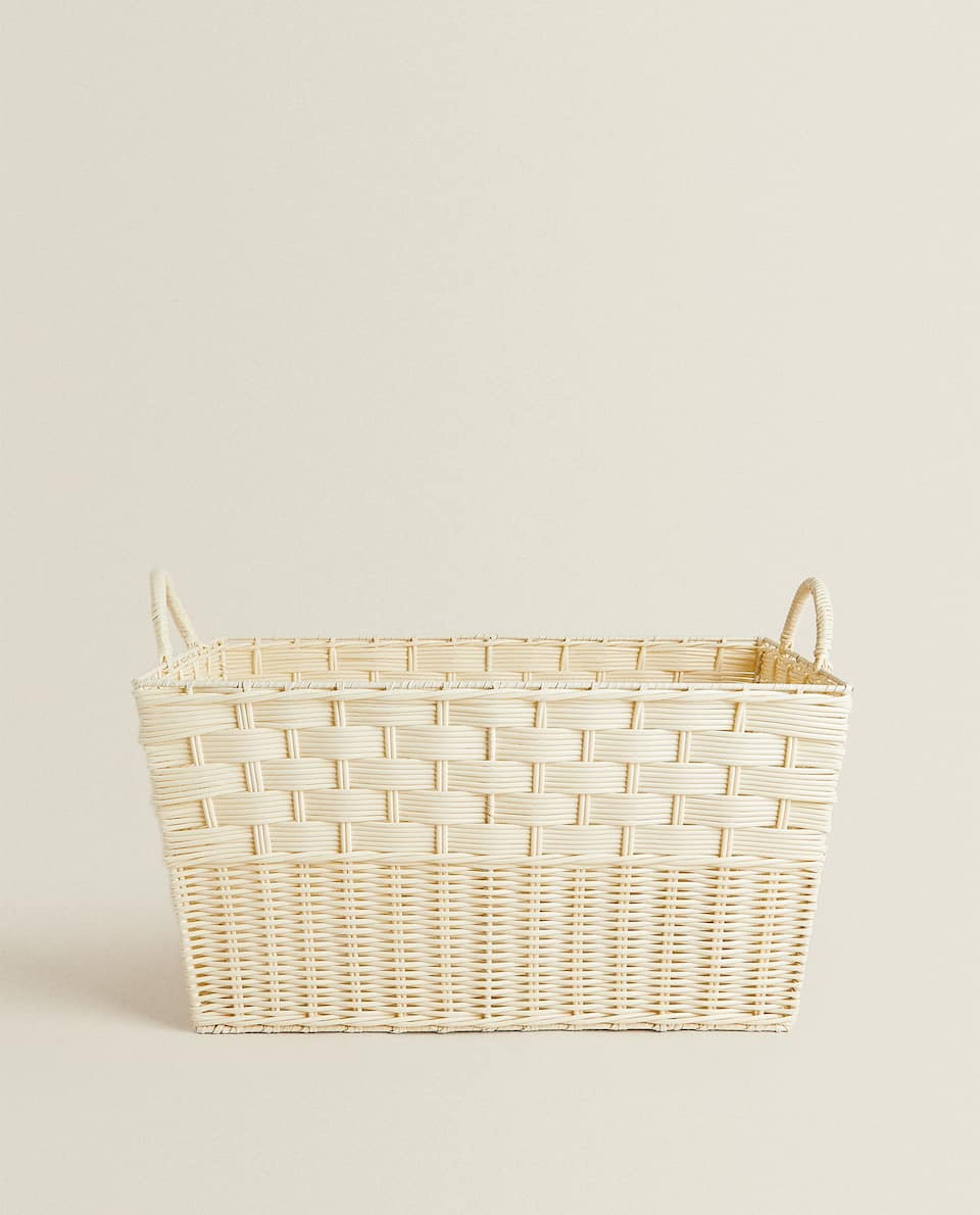 PLAITED BASKET WITH HANDLE