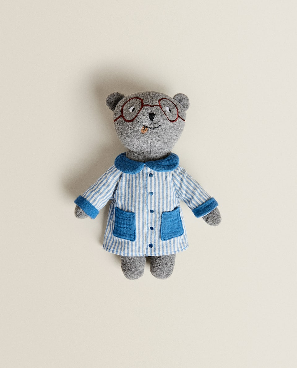 SOFT TOY BEAR WITH BLUE SMOCK