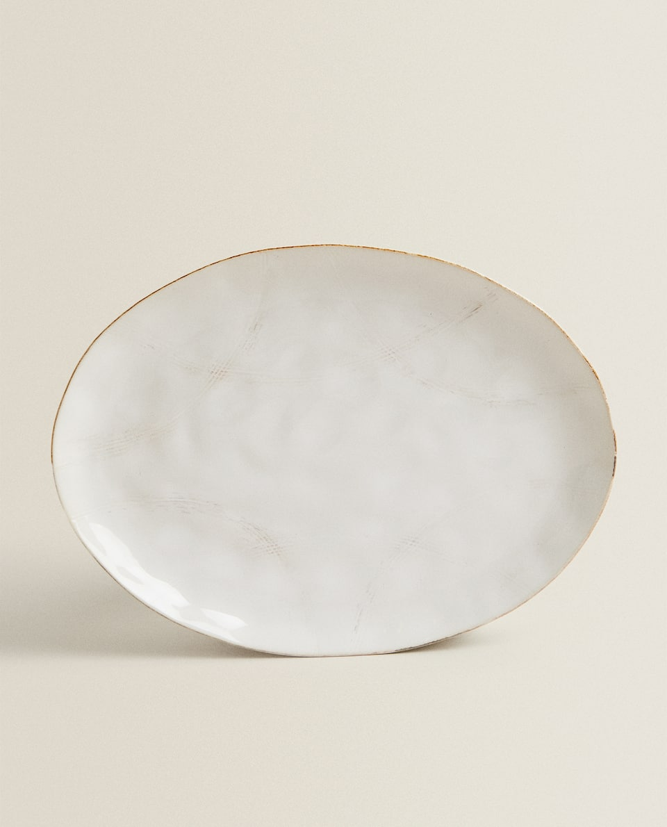 TOASTED STONEWARE OVAL SERVING DISH
