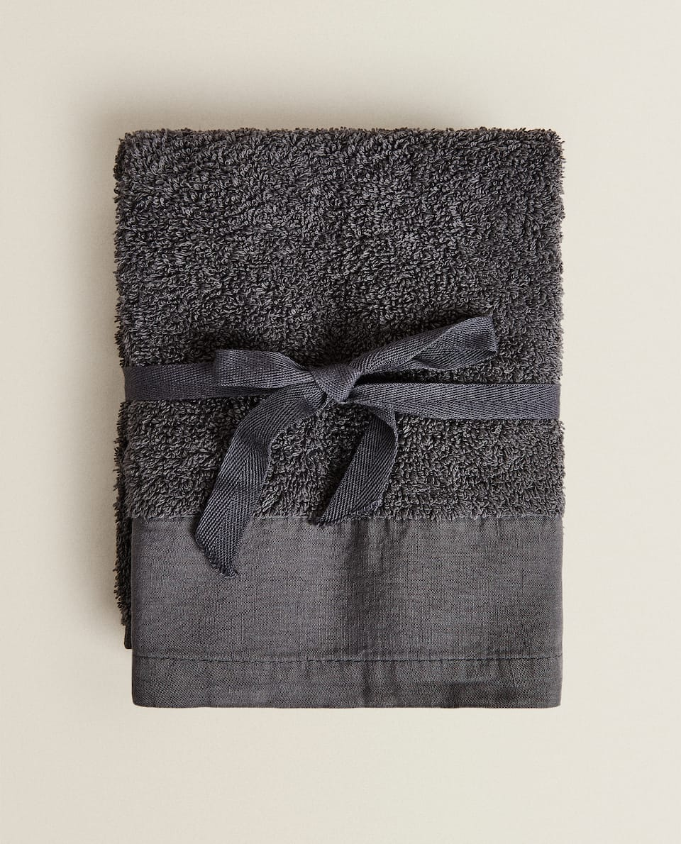 TOWEL WITH LINEN BORDER (PACK OF 2)