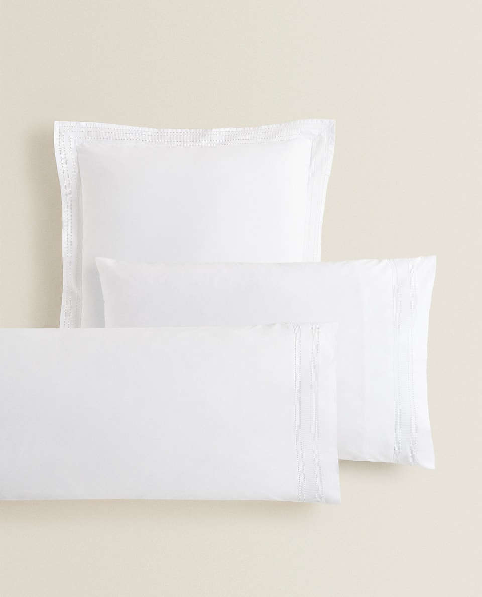 PILLOWCASE WITH EMBROIDERED BORDER