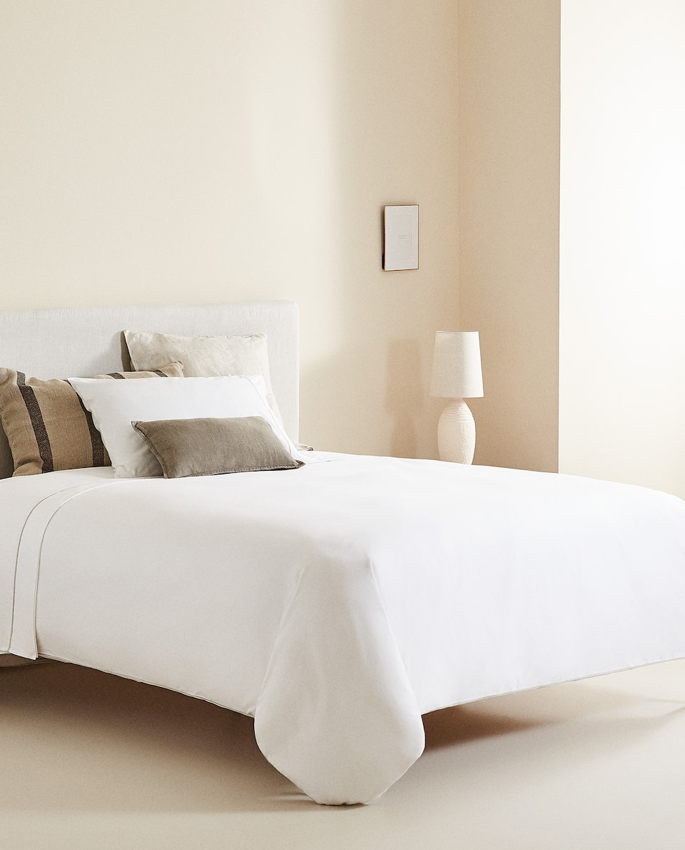(400 THREAD COUNT) SATEEN DUVET COVER WITH LINEN PIPING