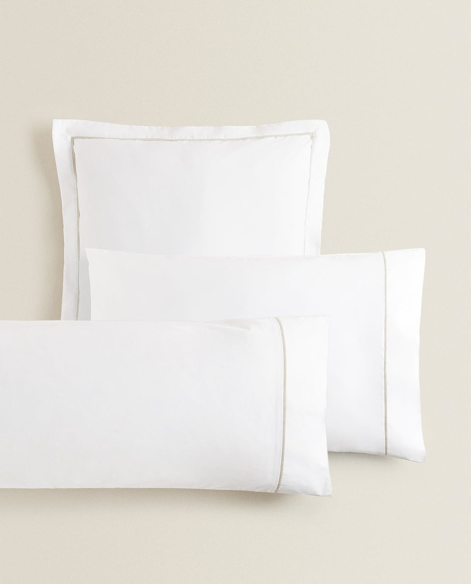 (400 THREAD COUNT) SATEEN PILLOWCASE WITH LINEN PIPING