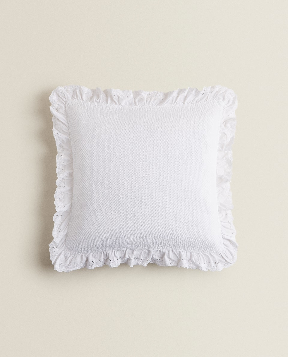 CUSHION COVER WITH EMBROIDERED RUFFLE TRIMS