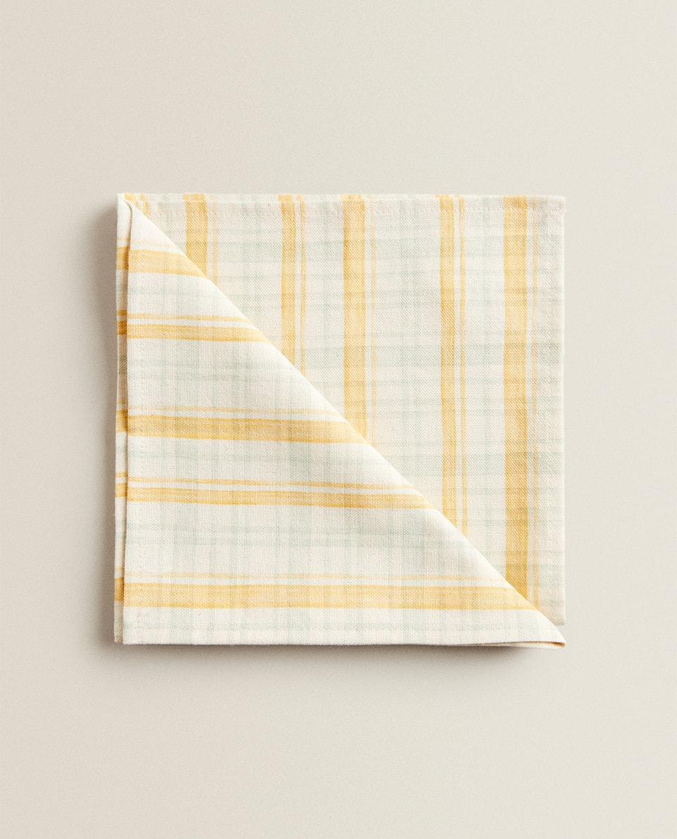 CHECK AND YELLOW STRIPE NAPKIN (PACK OF 2)