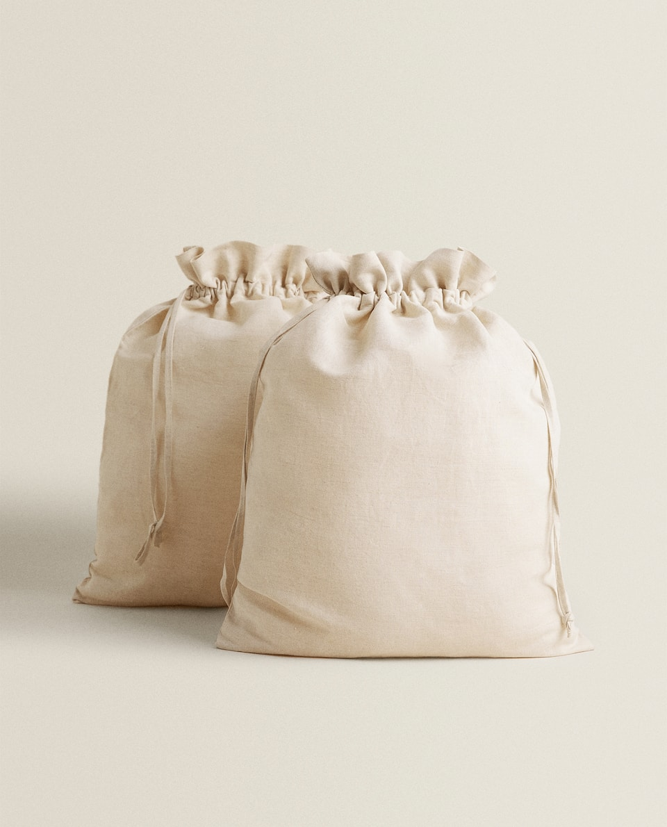 COTTON AND LINEN STORAGE BAG (PACK OF 2)