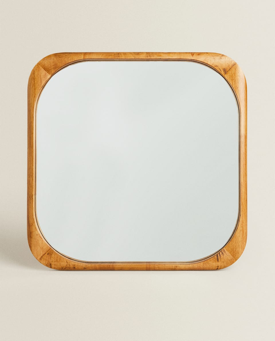 LARGE SQUARE WOODEN MIRROR