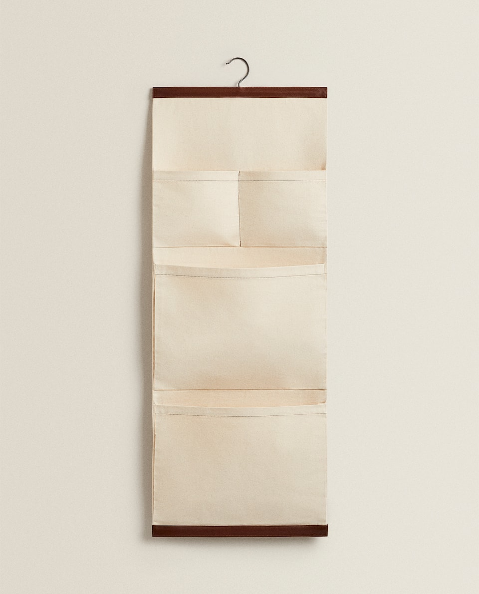 CANVAS AND LEATHER ORGANISER WITH HANGER