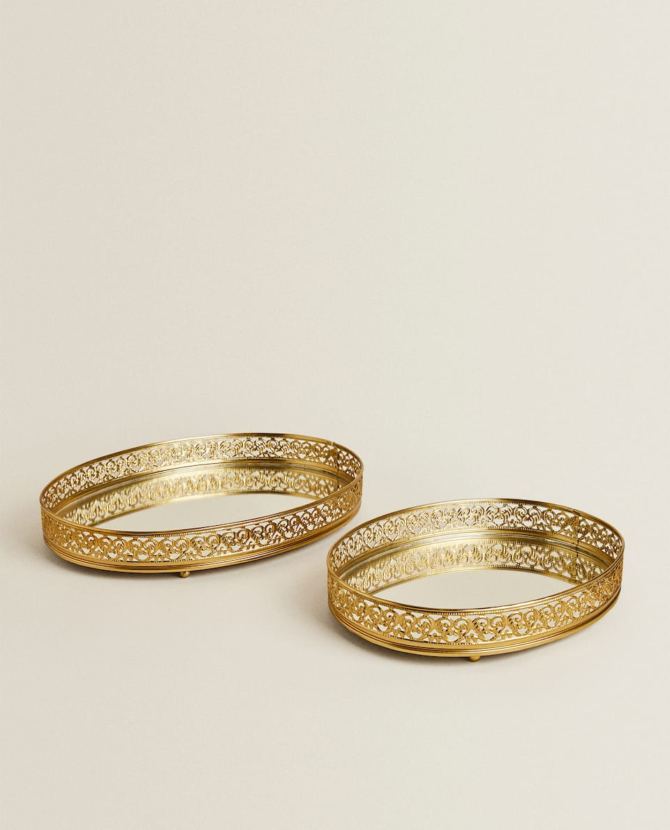 OVAL GOLD METAL TRAY