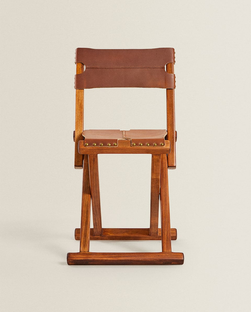 FOLDING WOOD AND LEATHER CHAIR