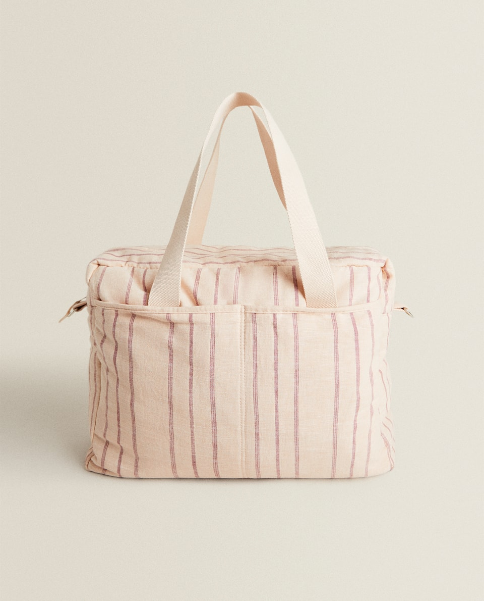 PINK STRIPED MATERNITY BAG