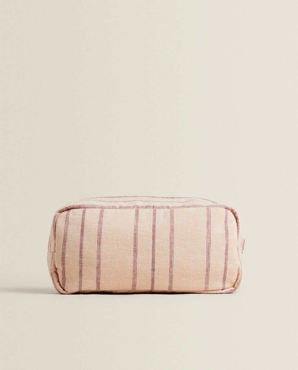 PINK STRIPED TOILETRY BAG