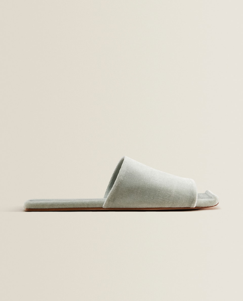 Velvet square-toe slippers