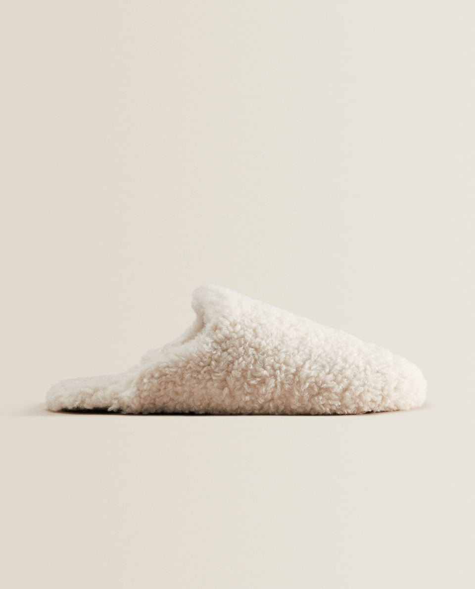 Faux shearling house slippers