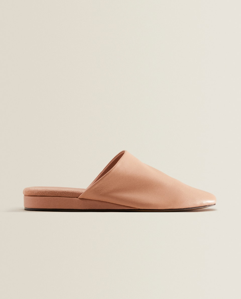 Pink leather mules