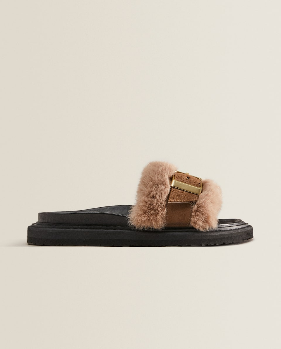 FAUX FUR STRAPPY SANDALS