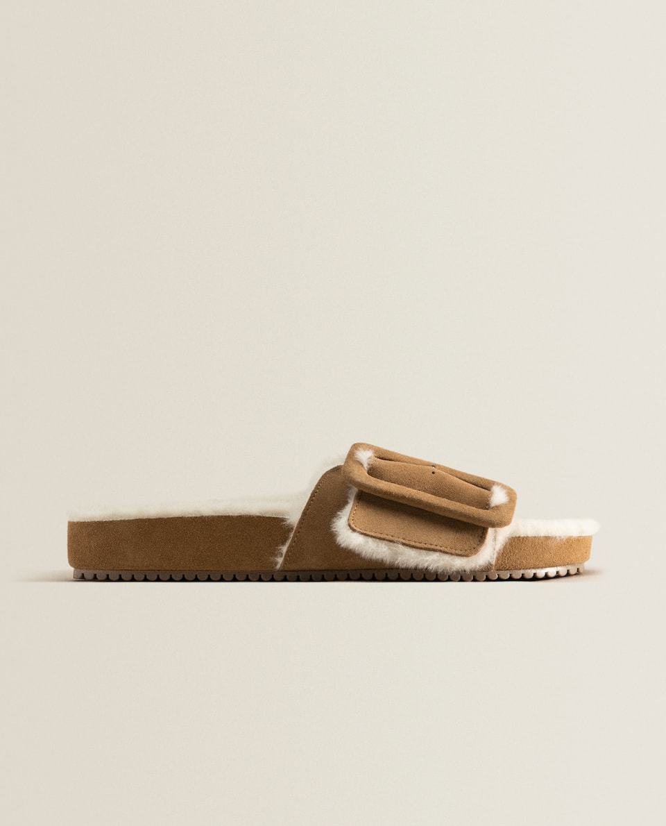 Buckle split-leather slides