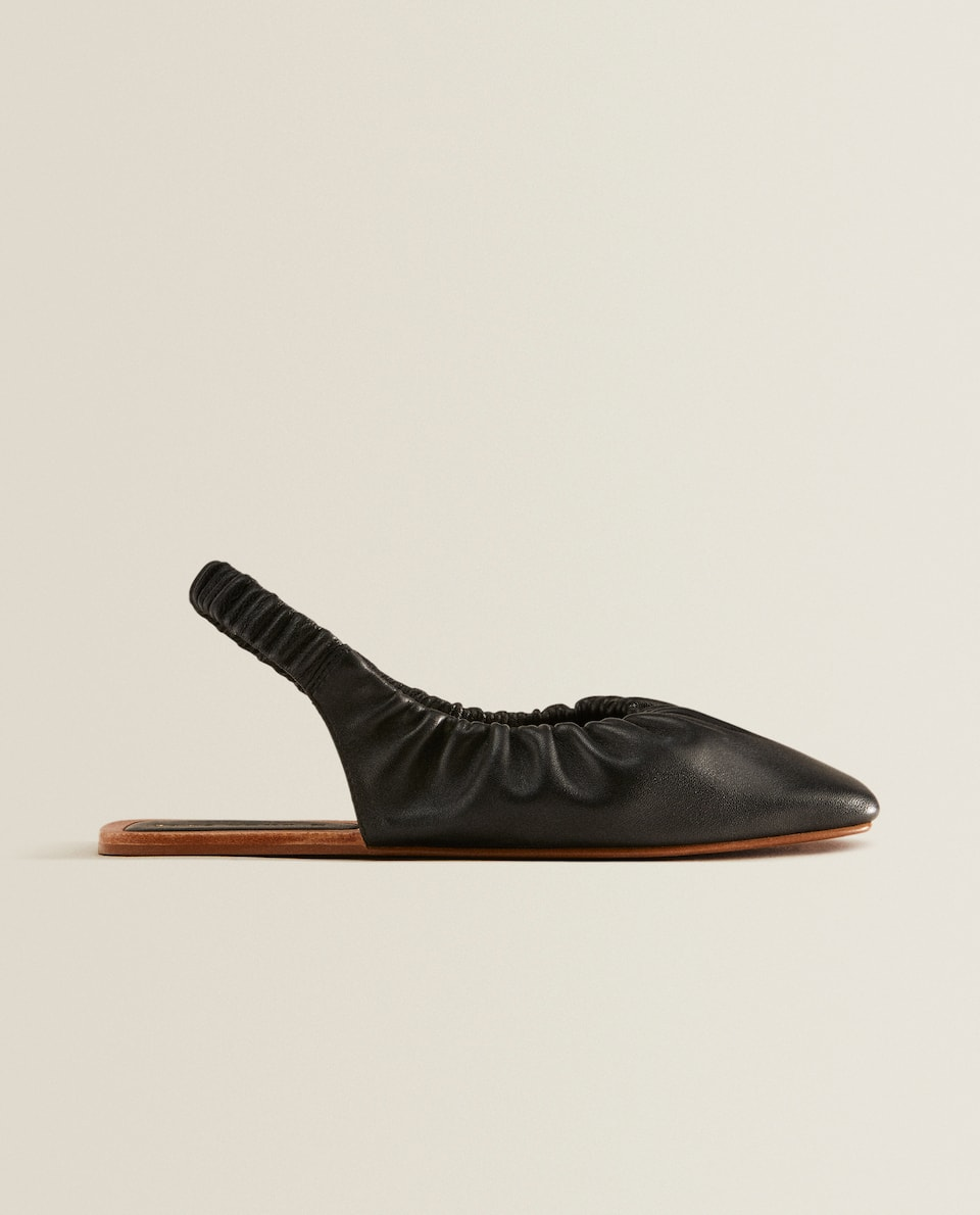 Leather slingback ballerinas.