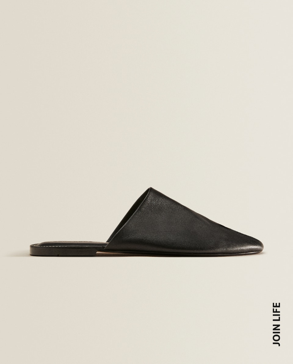 Leather backless slippers