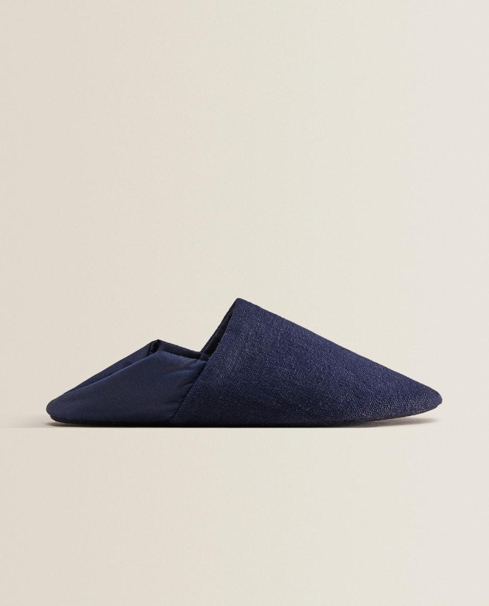 Linen babouche slippers