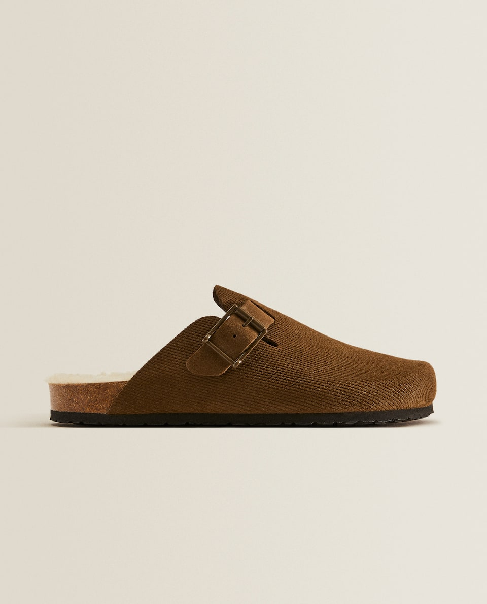 Corduroy effect leather mule slippers