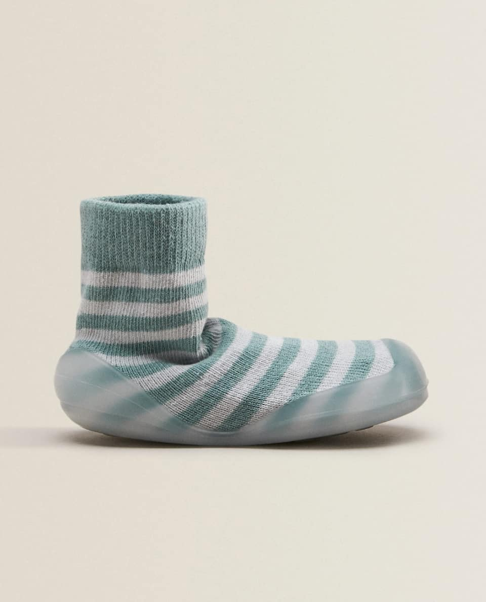 BLUE STRIPED SOCK-STYLE SLIPPERS