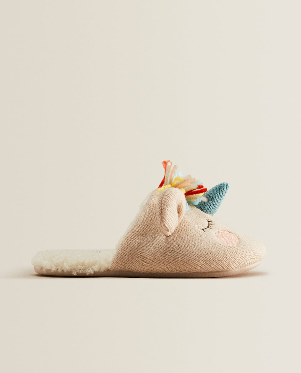 Backless unicorn slippers