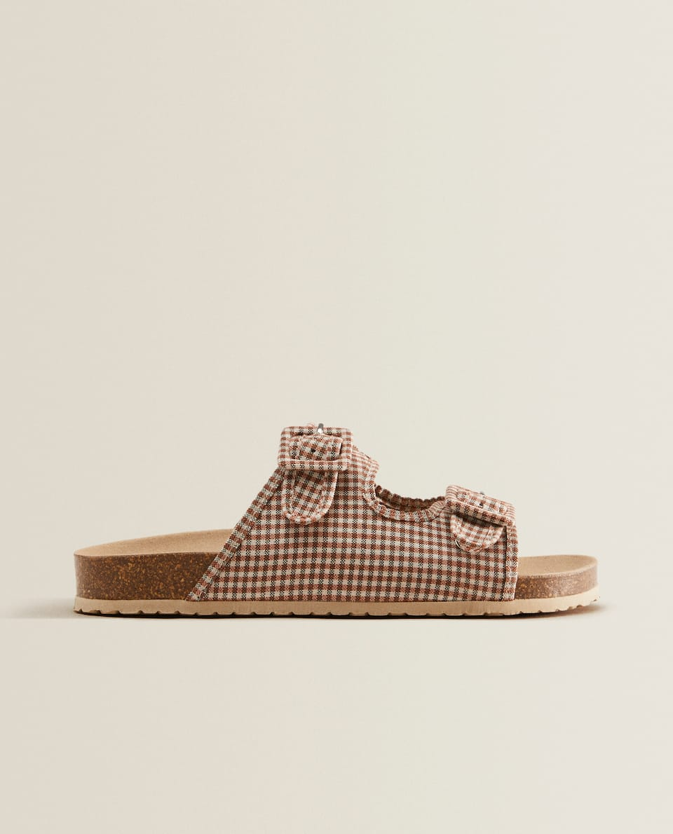 Gingham check sandals