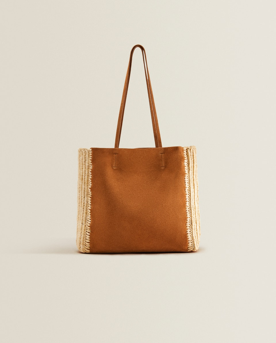 Leather tote bag with raffia details