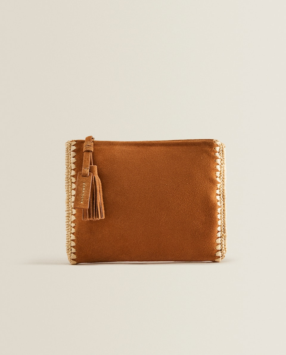 Leather clutch with raffia detail
