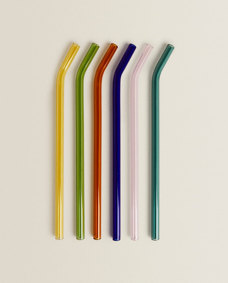 SET OF 6 COLOUR BOROSILICATE GLASS STRAWS