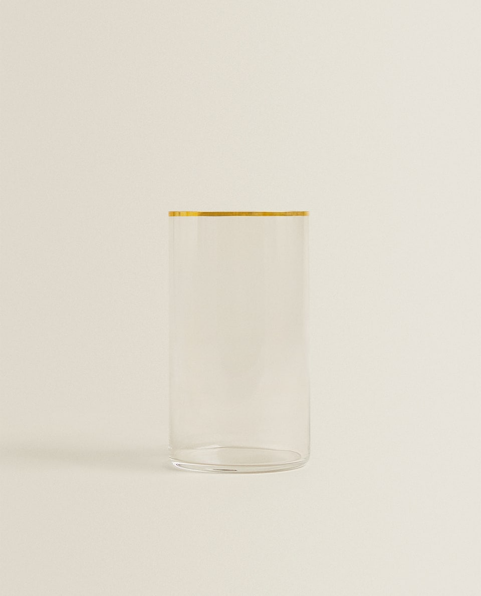 TALL STRAIGHT CRYSTALLINE TUMBLER WITH GOLD RIM