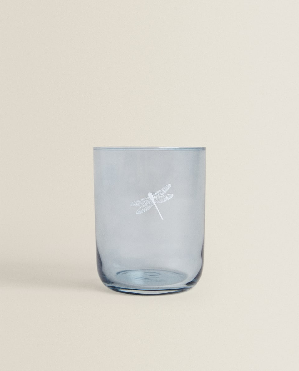 DRAGONFLY TRANSFER GLASS TUMBLER