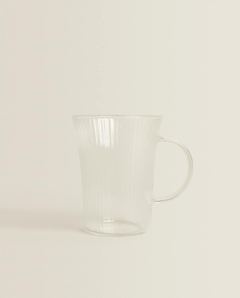 BOROSILICATE GLASS CUP WITH LINES