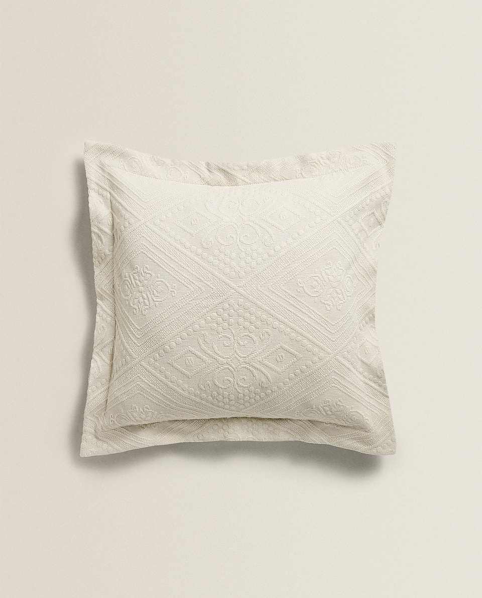 COTTON CUSHION COVER WITH GEOMETRIC DESIGN