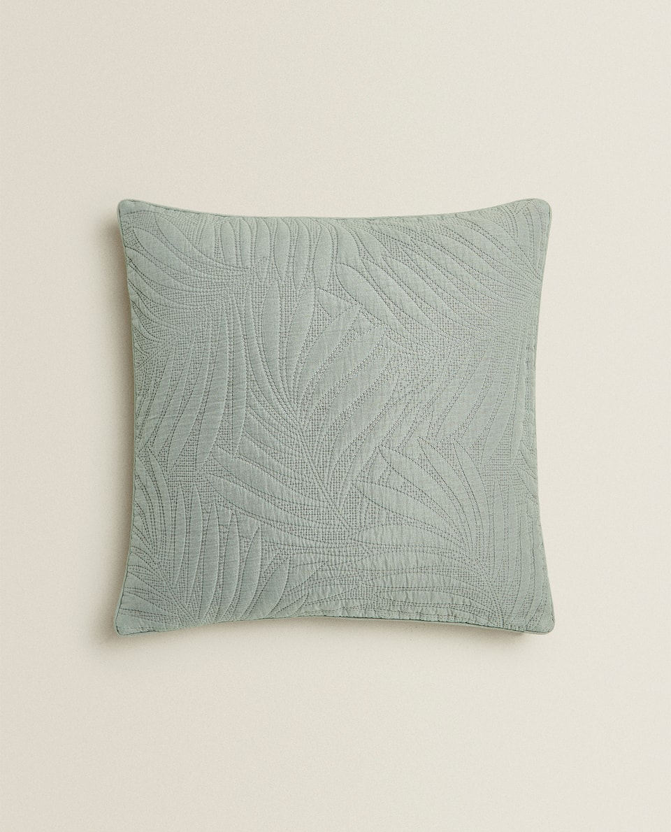 CUSHION COVER WITH RAISED LEAF DETAIL