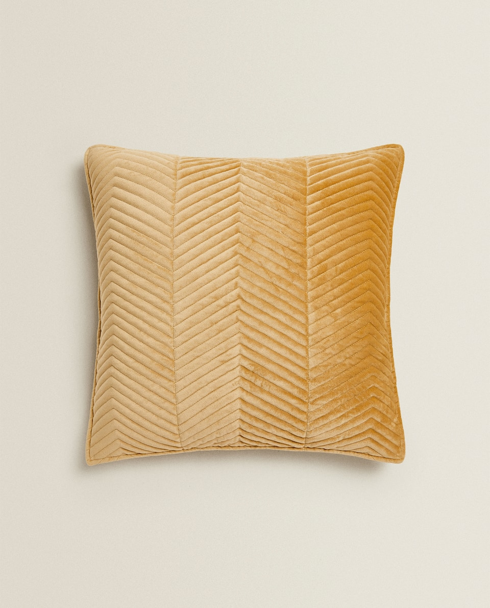 VELVET HERRINGBONE CUSHION COVER