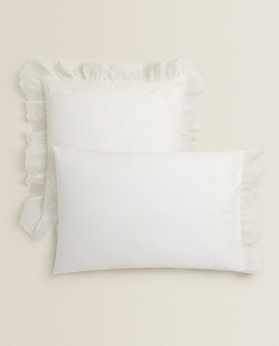 EMBROIDERED ORGANZA FABRIC PILLOWCASE