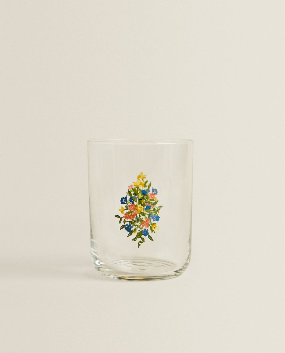 GLASS TUMBLER WITH FLORAL TRANSFER