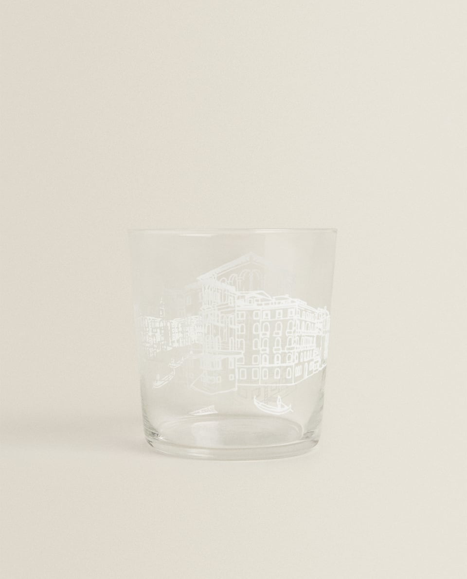 GLASS TUMBLER WITH CITY TRANSFER