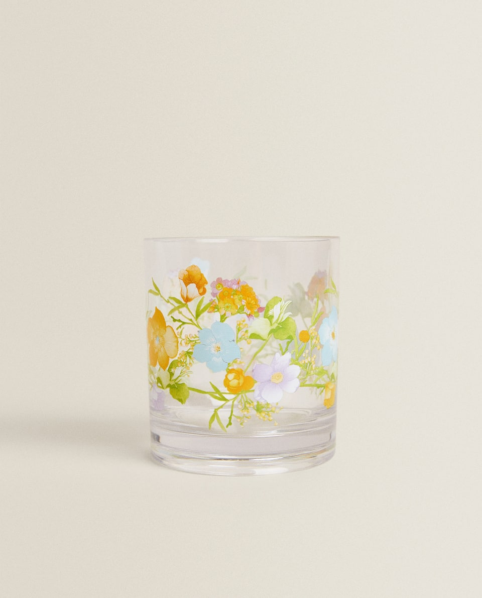 FLORAL TRANSFER ACRYLIC TUMBLER