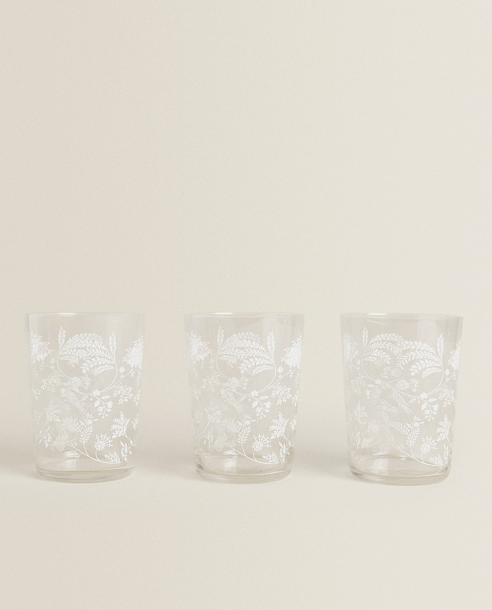 3-PACK OF FERN TRANSFER SOFT DRINK TUMBLERS