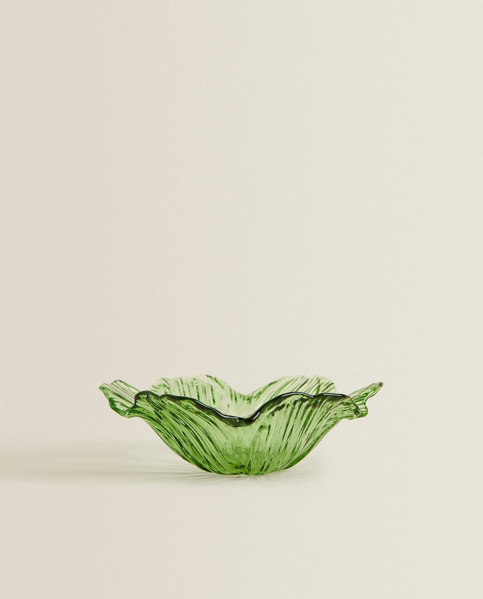 FLOWER-SHAPED GLASS BOWL