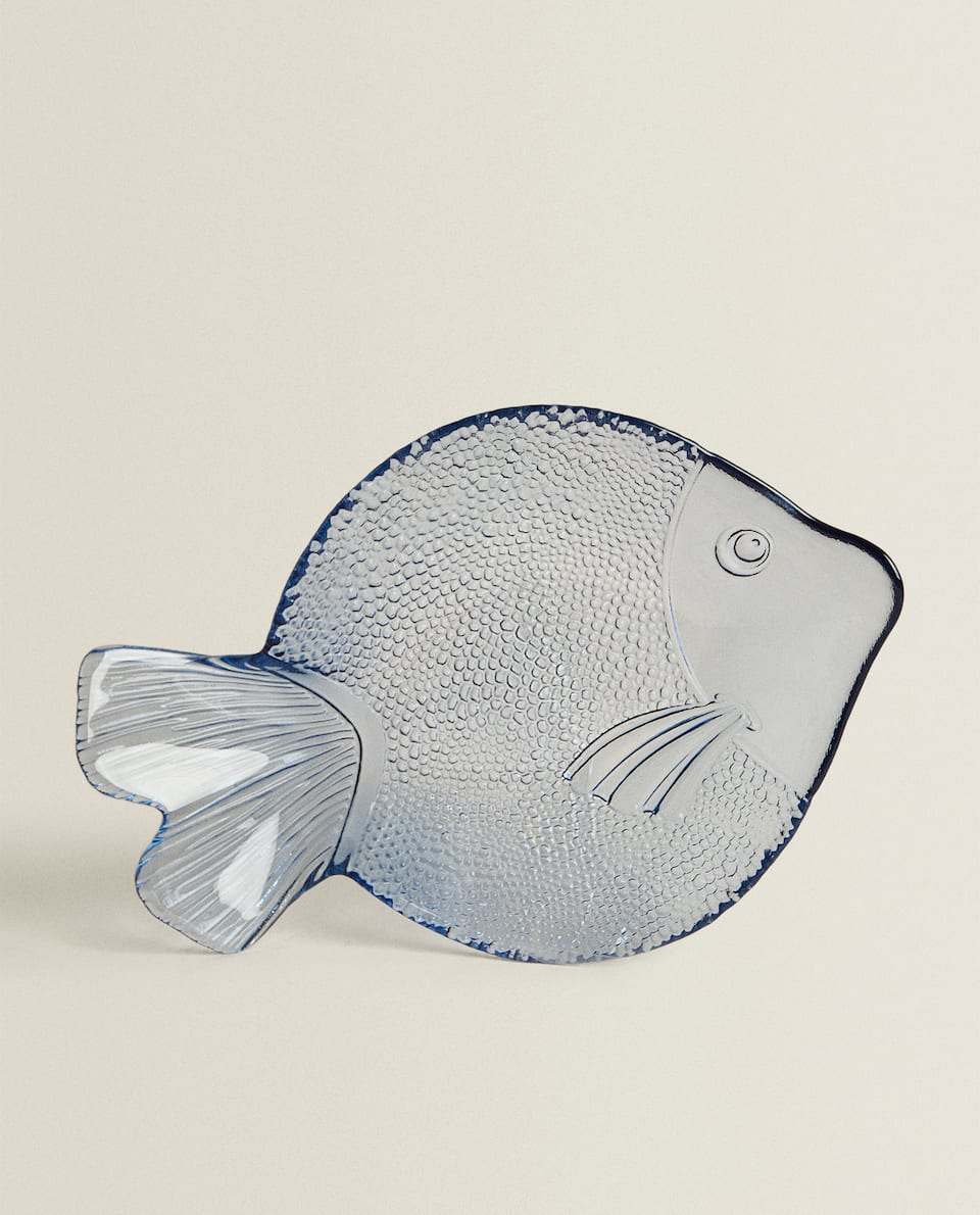 LARGE FISH-SHAPED GLASS SERVING DISH